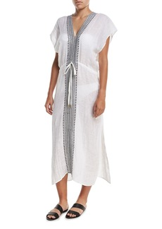 Vitamin A Tulum V-Neck Embroidered Linen Long Tunic