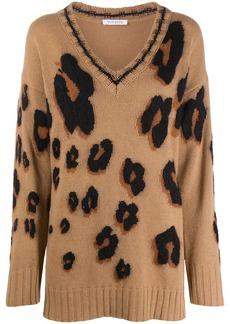 Vivetta leopard pattern rib-trimmed jumper