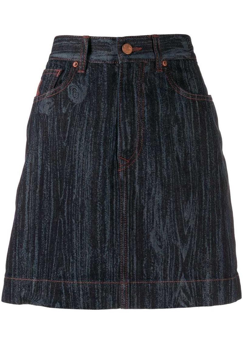 Vivienne Westwood wood effect denim skirt