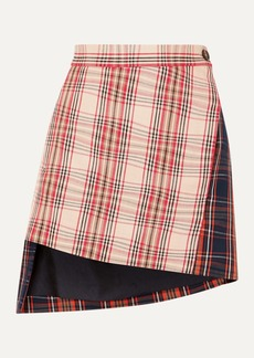 Vivienne Westwood Case Asymmetric Checked Cotton-twill Wrap Mini Skirt