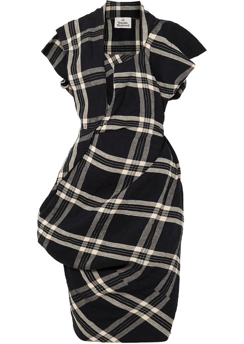 Vivienne Westwood Draped Plaid Linen Dress