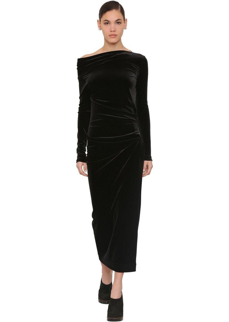 Vivienne Westwood Draped Stretch Velvet Midi Dress