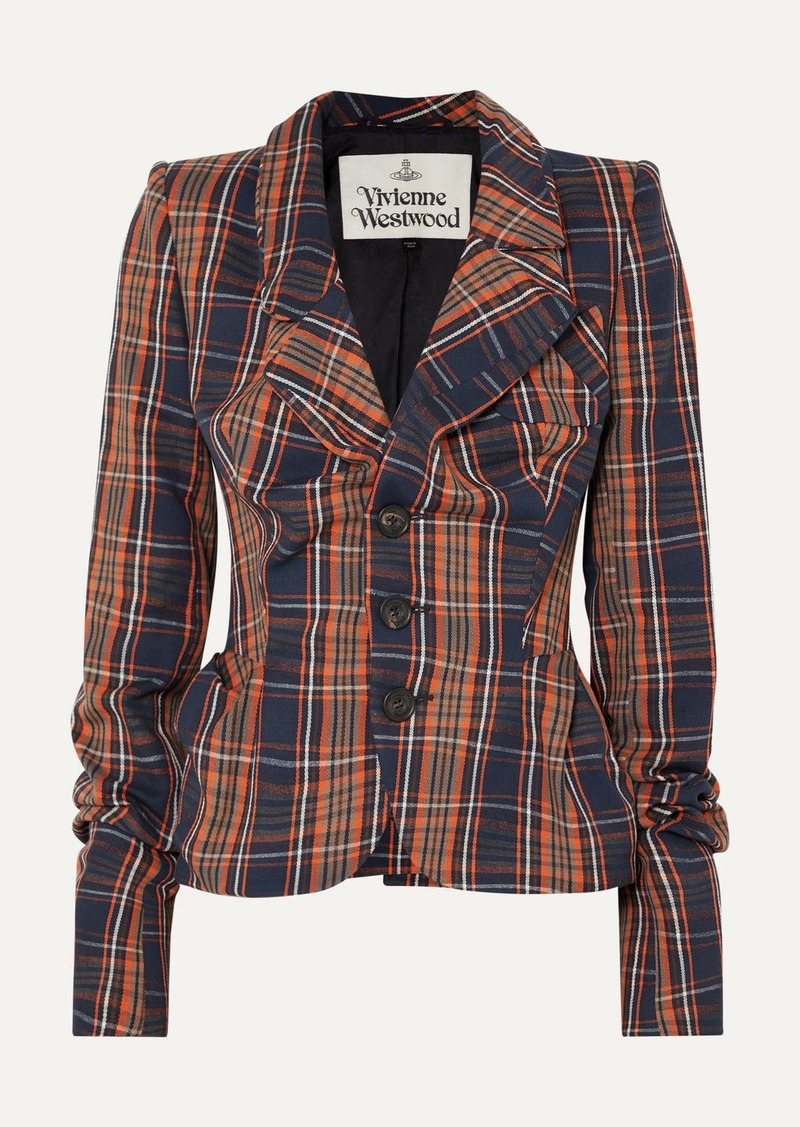 Vivienne Westwood Gathered Checked Cotton-twill Blazer