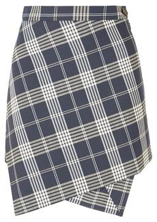 Vivienne Westwood Infinity Asymmetric Wrap-effect Tartan Wool Mini Skirt