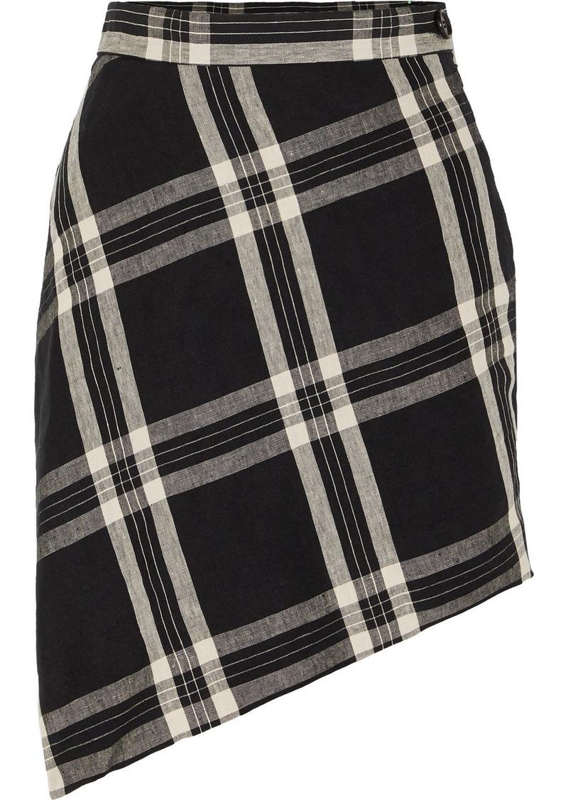 Vivienne Westwood Infinity Wrap-effect Asymmetric Tartan Organic Linen Mini Skirt