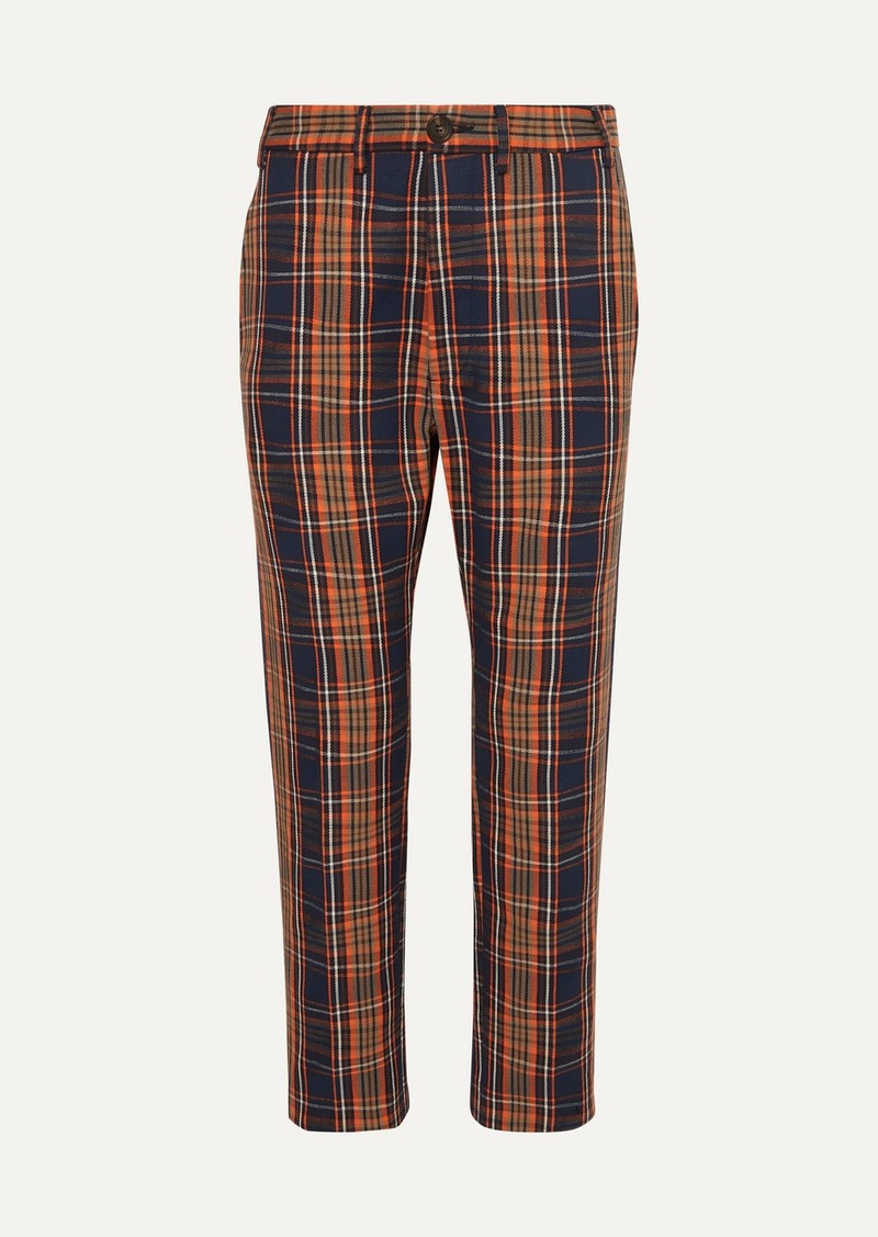Vivienne Westwood Long George Checked Cotton-twill Straight-leg Pants