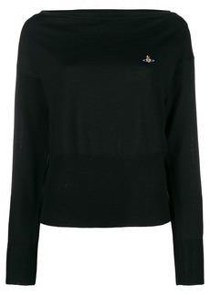 Vivienne Westwood slash neck logo sweater