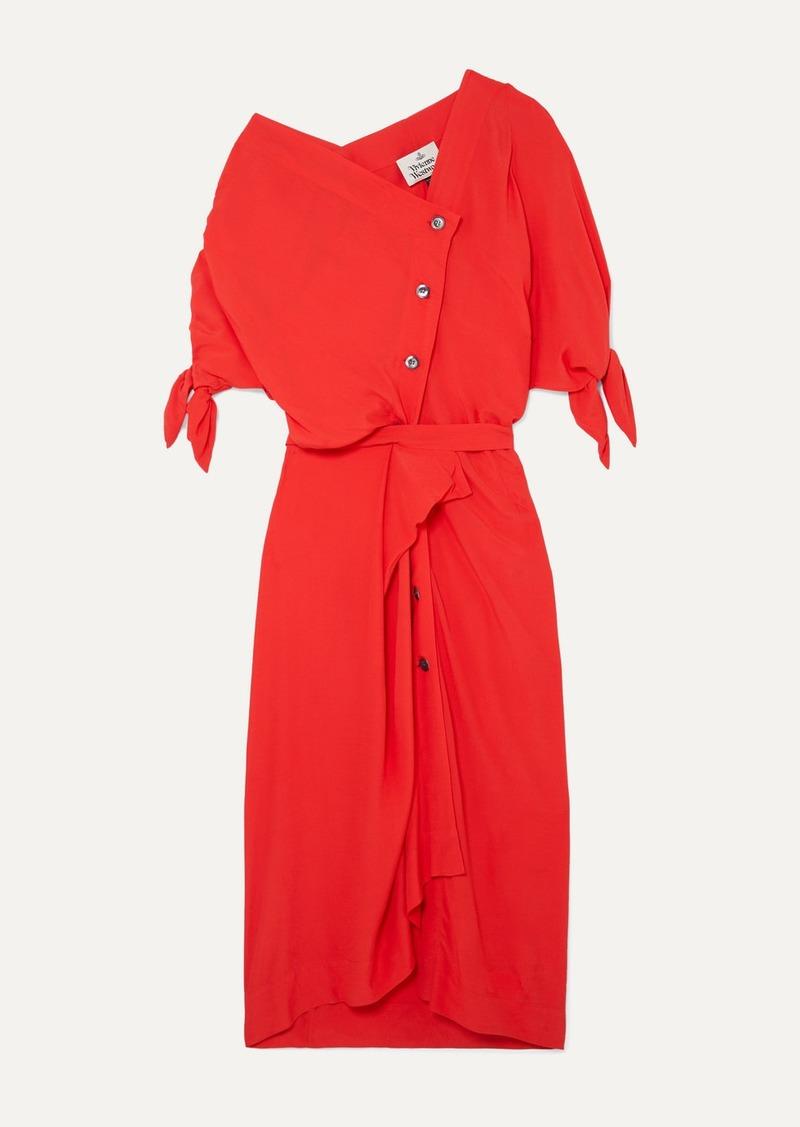 Vivienne Westwood Thaw Asymmetric Draped Crepe Midi Dress