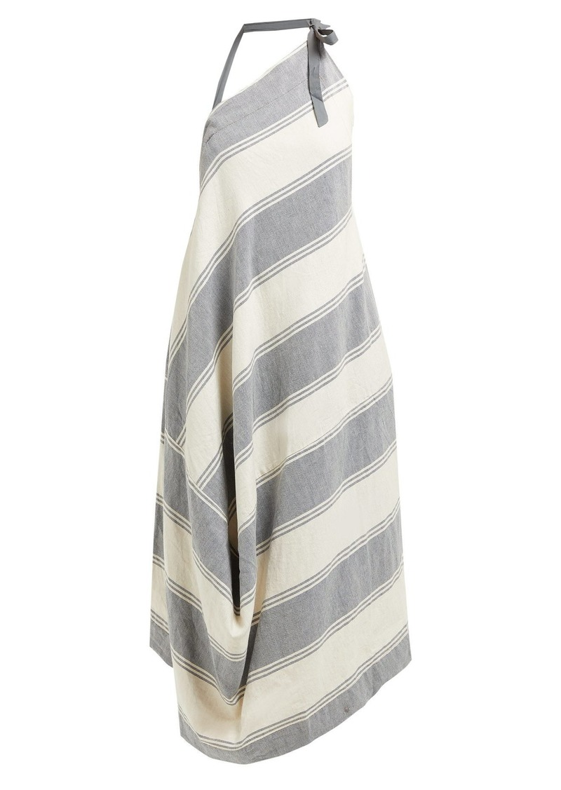 24be9fa7a93 Vivienne Westwood Anglomania Asymmetric striped cotton-blend halterneck  dress