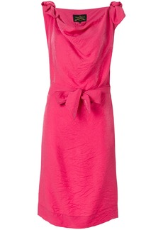 Vivienne Westwood Anglomania cowl neck bow dress - Pink & Purple