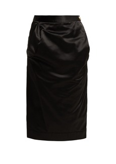 Vivienne Westwood Anglomania Gathered satin pencil skirt