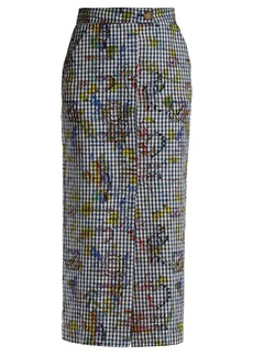 Vivienne Westwood Anglomania Gingham and print pencil skirt