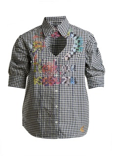 Vivienne Westwood Anglomania Heart cut-out puff-sleeved gingham cotton shirt