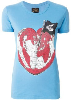 Vivienne Westwood Anglomania Heart World print T-shirt - Blue