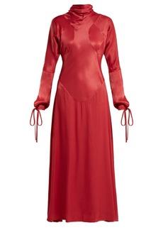 Vivienne Westwood Anglomania High-neck long-sleeve satin dress