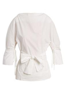 Vivienne Westwood Anglomania Kembra boat-neck tie-waist cotton-poplin blouse