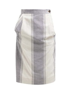 Vivienne Westwood Anglomania Striped cotton-blend pencil skirt