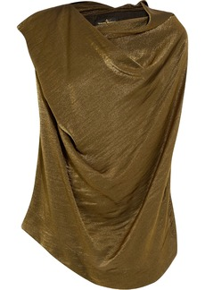 Vivienne Westwood Anglomania Woman Draped Metallic Satin-crepe Top Army Green