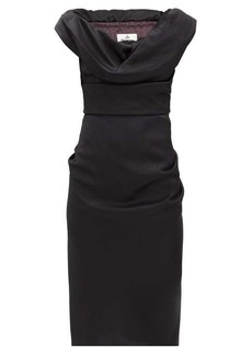 Vivienne Westwood Ginnie draped virgin-wool cady pencil dress