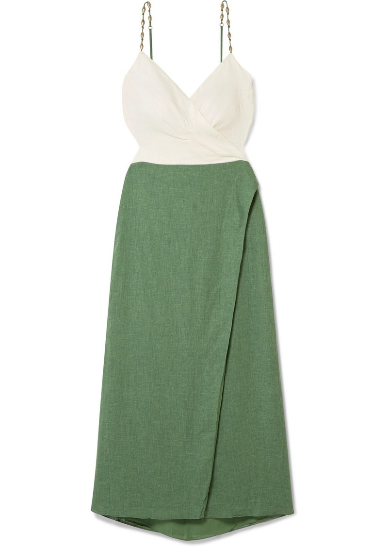 Vix Connie Embellished Wrap-effect Linen-blend Midi Dress