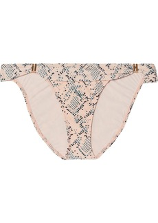 Vix Nusa Bia Embellished Snake-print Bikini Briefs