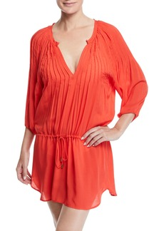 Vix Sara Split-Neck Caftan Coverup Dress w/ Pintucking