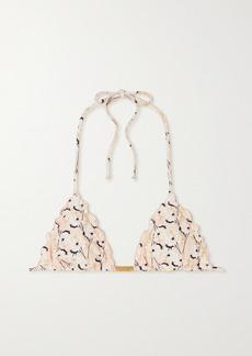 Vix Spring Ripple Ruffled Floral-print Triangle Bikini Top