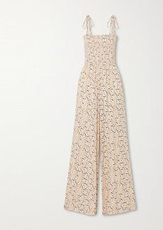 Vix Spring Romance Shirred Floral-print Stretch-crepe Jumpsuit