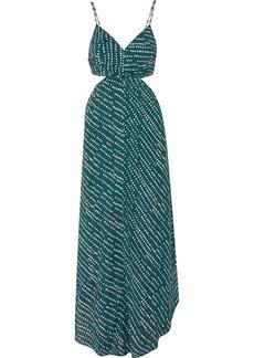 Vix Ventana Ocean Cutout Printed Voile Maxi Dress