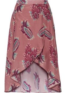 Vix Birds June Printed Cotton And Silk-blend Wrap Skirt