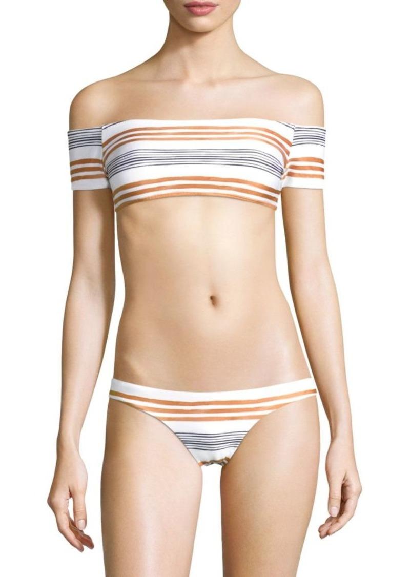 c10d0ebb480 Vix Striped Off-the-Shoulder Bikini Top
