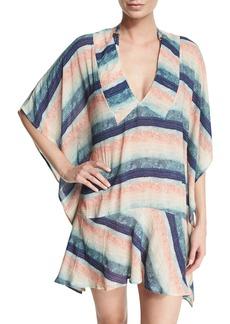 Vix Maud Striped Drop-Waist Caftan Coverup