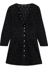 Vix Paula Hermanny Woman Ana Gathered Broderie Anglaise Cotton Tunic Black