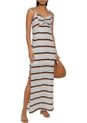Vix Paula Hermanny Woman Ava Cami Ruched Striped Voile Maxi Dress Ecru
