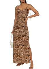 Vix Paula Hermanny Woman Ava Cami Ruched Tiger-print Voile Maxi Dress Animal Print