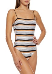 Vix Paula Hermanny Woman Ava Suri Lace-up Striped Swimsuit White