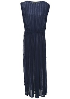 Vix Paula Hermanny Woman Bead-embellished Cotton-gauze Coverup Navy