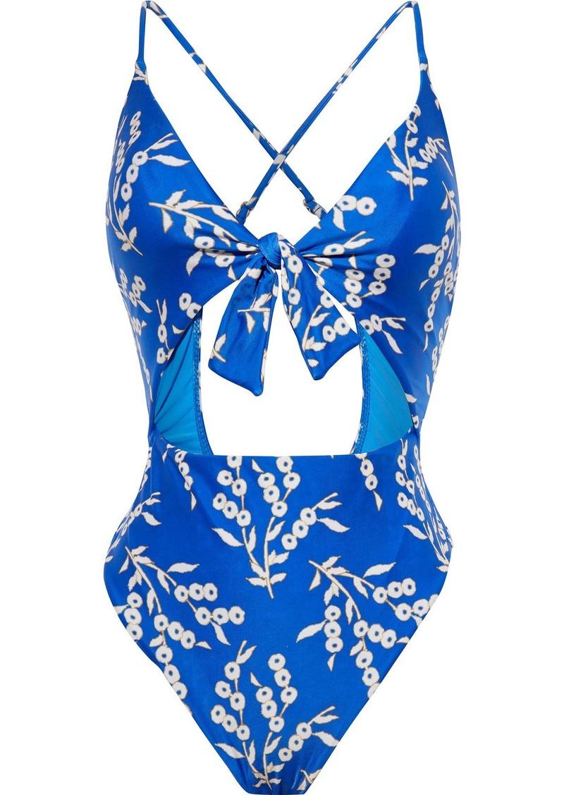 Vix Paula Hermanny Woman Berries Bandana Knotted Cutout Printed Swimsuit Bright Blue