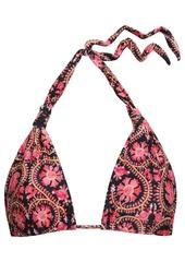 Vix Paula Hermanny Woman Bia Knotted Floral-print Triangle Bikini Top Black