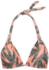 Vix Paula Hermanny Woman Bia Printed Triangle Bikini Top Peach