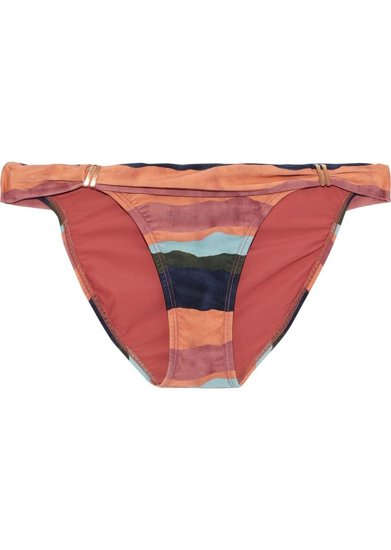 Vix Paula Hermanny Woman Bia Ruched Striped Low-rise Bikini Briefs Antique Rose