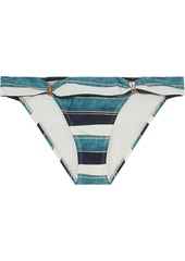 Vix Paula Hermanny Woman Bia Ruched Striped Low-rise Bikini Briefs Teal
