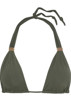 Vix Paula Hermanny Woman Bia Ruched Triangle Bikini Top Army Green