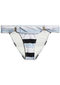 Vix Paula Hermanny Woman Bia Striped Low-rise Bikini Briefs Light Blue