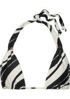 Vix Paula Hermanny Woman Blanca Bia Striped Triangle Bikini Top Black