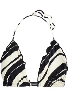 Vix Paula Hermanny Woman Blanca Ruffle-trimmed Striped Triangle Bikini Top Black