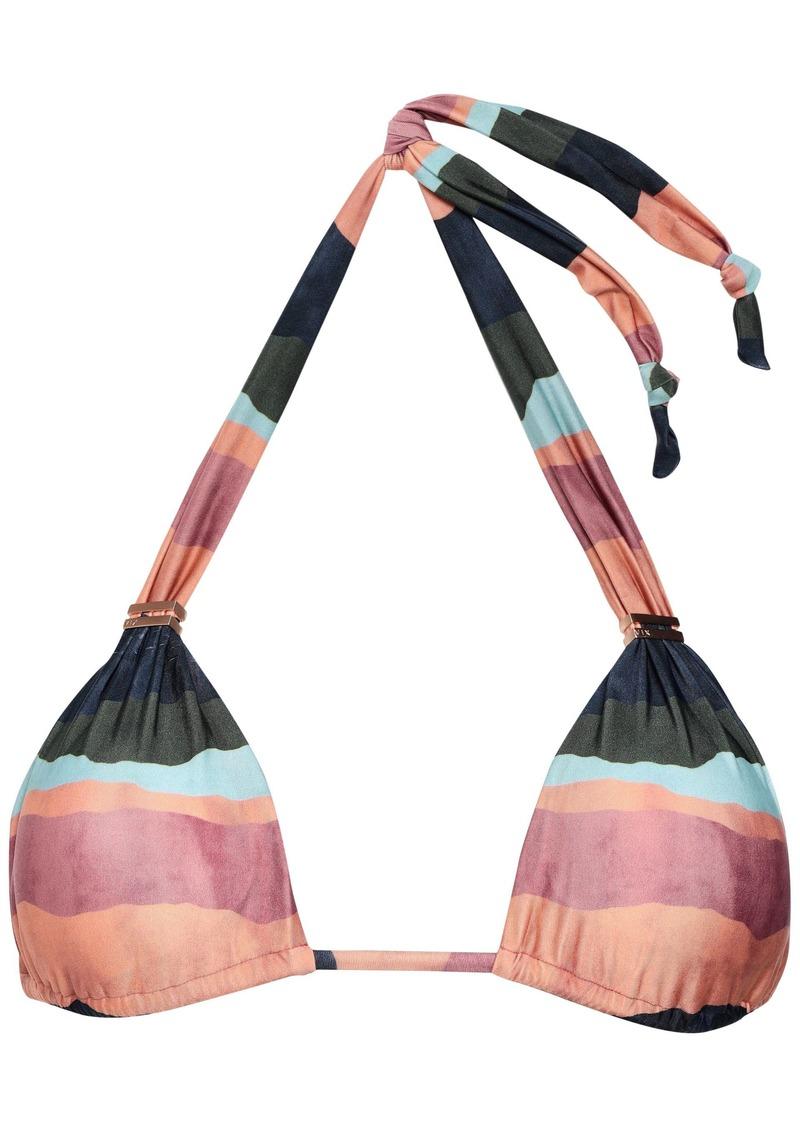 Vix Paula Hermanny Woman Bonaire Striped Triangle Bikini Top Grape