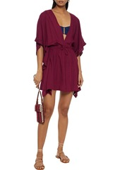 Vix Paula Hermanny Woman Crochet-trimmed Broderie Anglaise Voile Coverup Burgundy