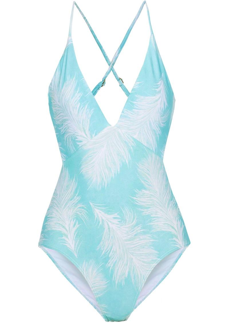 Vix Paula Hermanny Woman Cutout Printed Swimsuit Turquoise