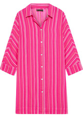 Vix Paula Hermanny Woman Dani Embroidered Cotton-voile Mini Shirt Dress Bright Pink